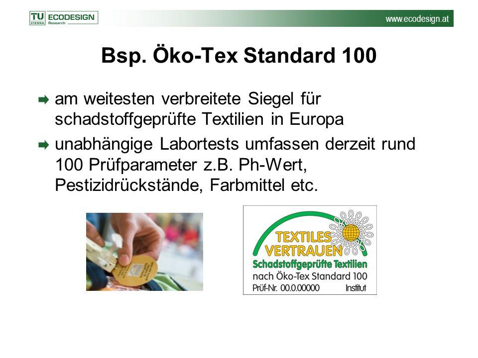 www.ecodesign.at Bsp. Öko-Tex Standard 100 am weitesten verbreitete Siegel für schadstoffgeprüfte Textilien in Europa unabhängige Labortests umfassen