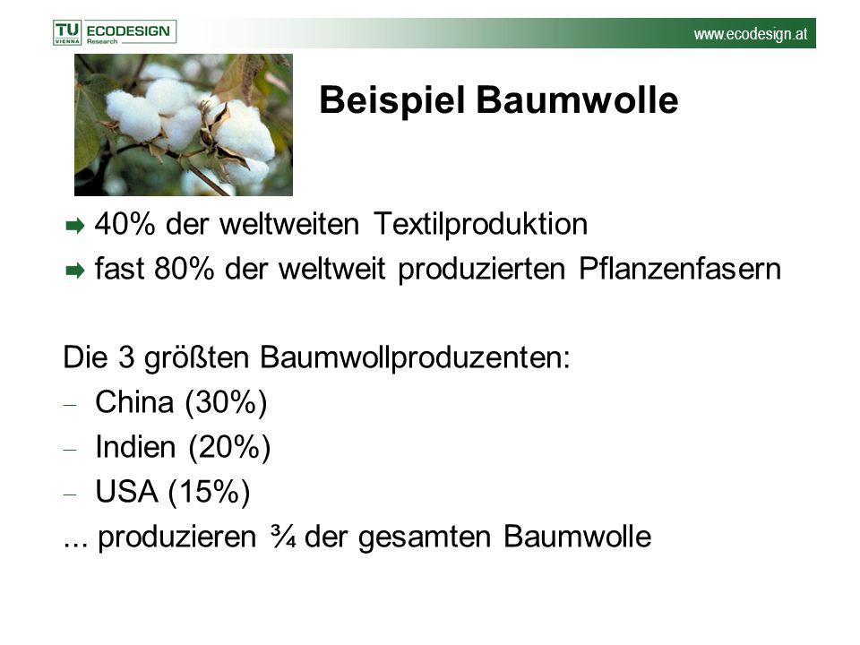 www.ecodesign.at Baumwolle: Umweltauswirkungen Benötigt 10% der weltweit eingesetzten Pestizide und 25% der Insektizide Schwere gesundheitliche Probleme bei Landwirten (300 000 bis 500 000 Vergiftungsfälle jährlich) Verschlechterung der Boden- und Wasserqualität Rückgang der Artenvielfalt (Monokulturen)