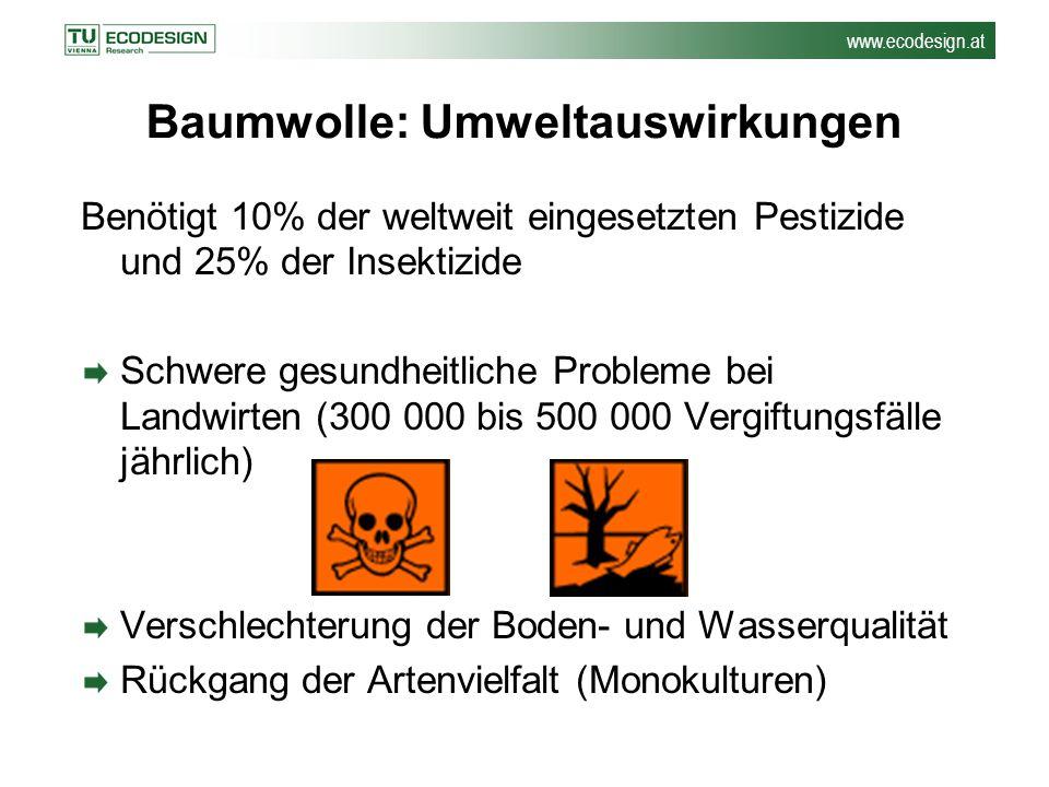 www.ecodesign.at Baumwolle: Umweltauswirkungen Benötigt 10% der weltweit eingesetzten Pestizide und 25% der Insektizide Schwere gesundheitliche Proble