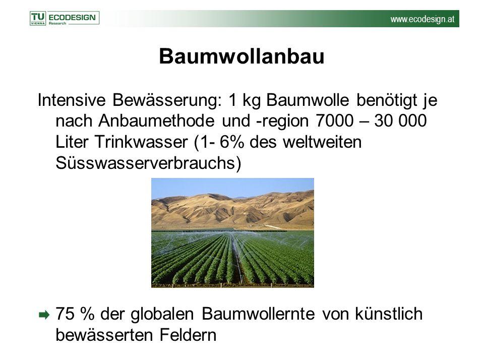 www.ecodesign.at Baumwollanbau Intensive Bewässerung: 1 kg Baumwolle benötigt je nach Anbaumethode und -region 7000 – 30 000 Liter Trinkwasser (1- 6%