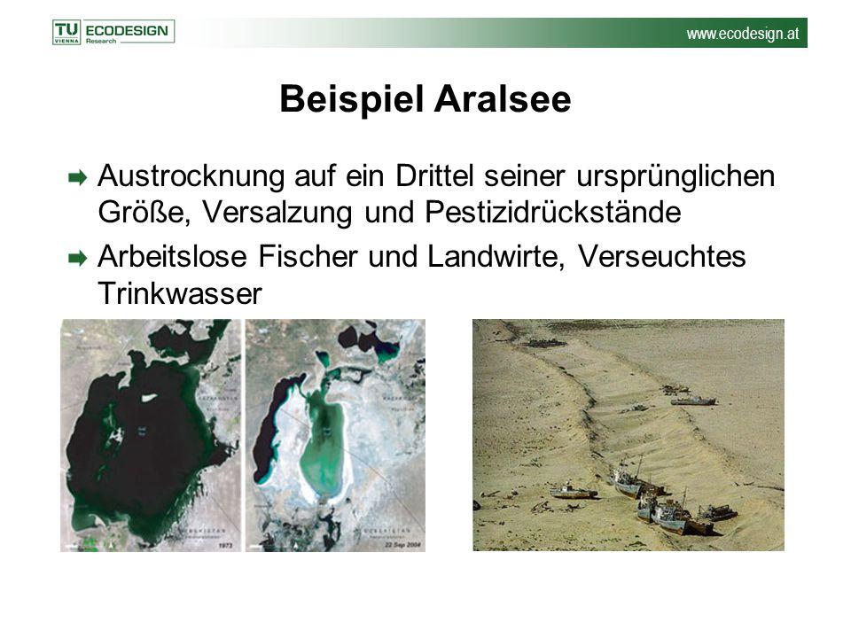 www.ecodesign.at Beispiel Aralsee Austrocknung auf ein Drittel seiner ursprünglichen Größe, Versalzung und Pestizidrückstände Arbeitslose Fischer und