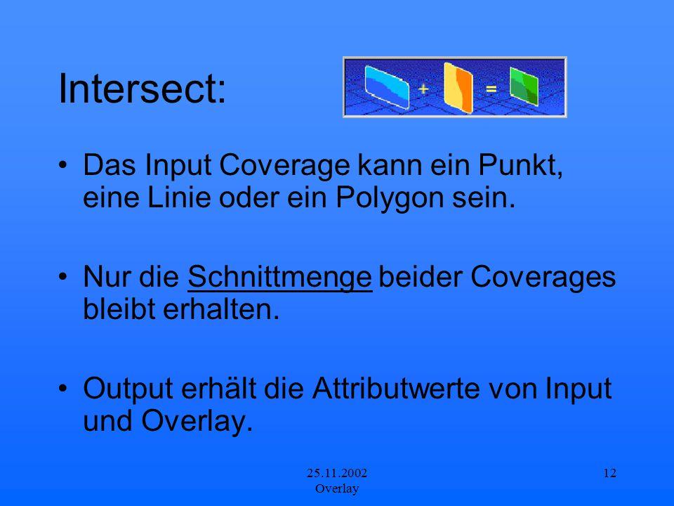 25.11.2002 Overlay 12 Intersect: Das Input Coverage kann ein Punkt, eine Linie oder ein Polygon sein. Nur die Schnittmenge beider Coverages bleibt erh