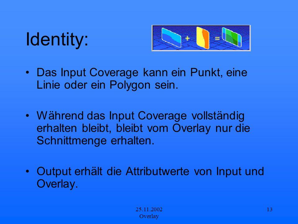 25.11.2002 Overlay 13 Identity: Das Input Coverage kann ein Punkt, eine Linie oder ein Polygon sein. Während das Input Coverage vollständig erhalten b