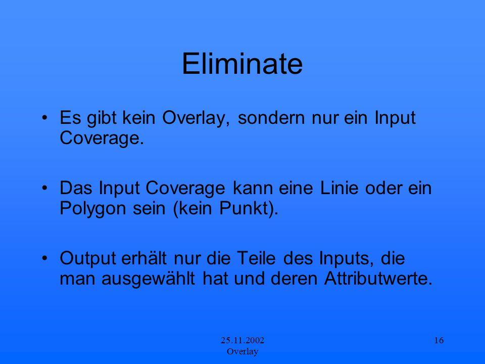 25.11.2002 Overlay 16 Eliminate Es gibt kein Overlay, sondern nur ein Input Coverage. Das Input Coverage kann eine Linie oder ein Polygon sein (kein P