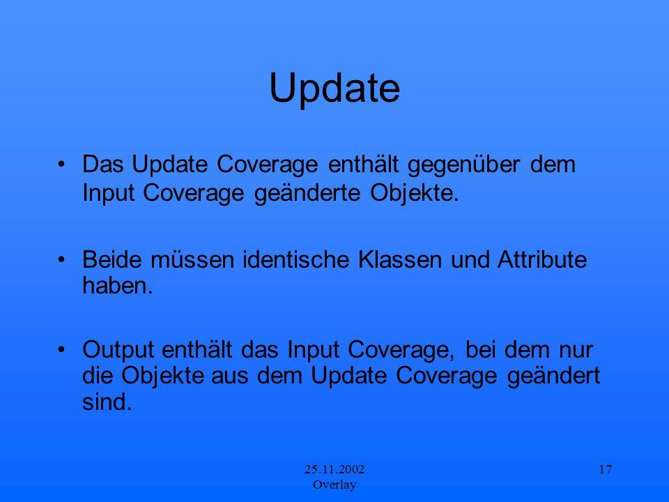 25.11.2002 Overlay 17 Update Das Update Coverage enthält gegenüber dem Input Coverage geänderte Objekte. Beide müssen identische Klassen und Attribute