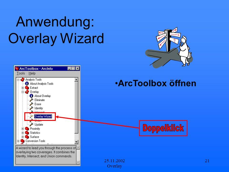 25.11.2002 Overlay 21 Anwendung: Overlay Wizard ArcToolbox öffnen