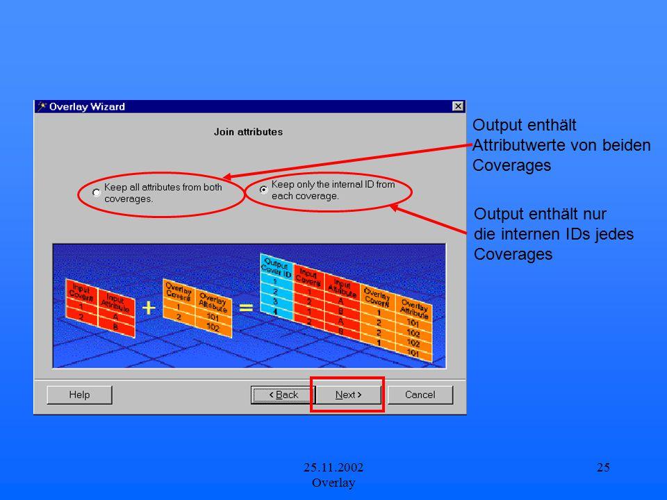 25.11.2002 Overlay 25 Output enthält Attributwerte von beiden Coverages Output enthält nur die internen IDs jedes Coverages