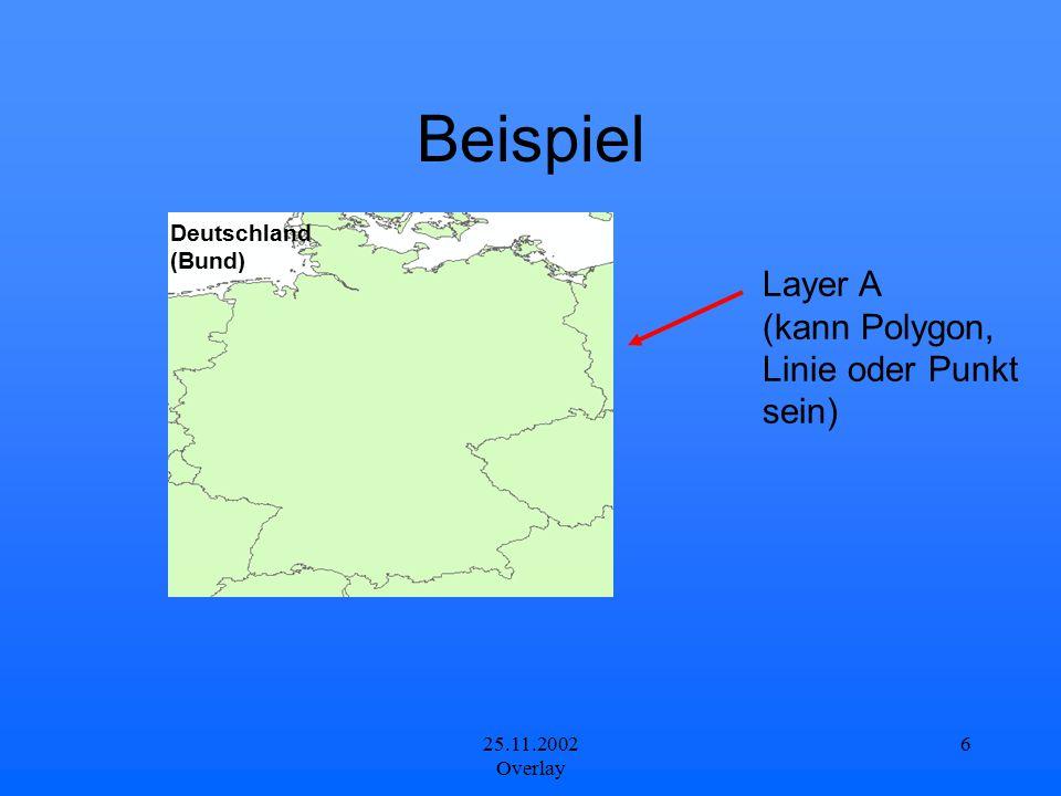 25.11.2002 Overlay 6 Beispiel Layer A (kann Polygon, Linie oder Punkt sein) Deutschland (Bund)