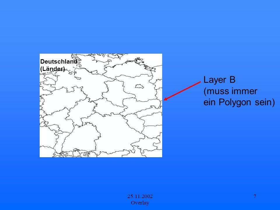 25.11.2002 Overlay 7 Layer B (muss immer ein Polygon sein) Deutschland (Länder)