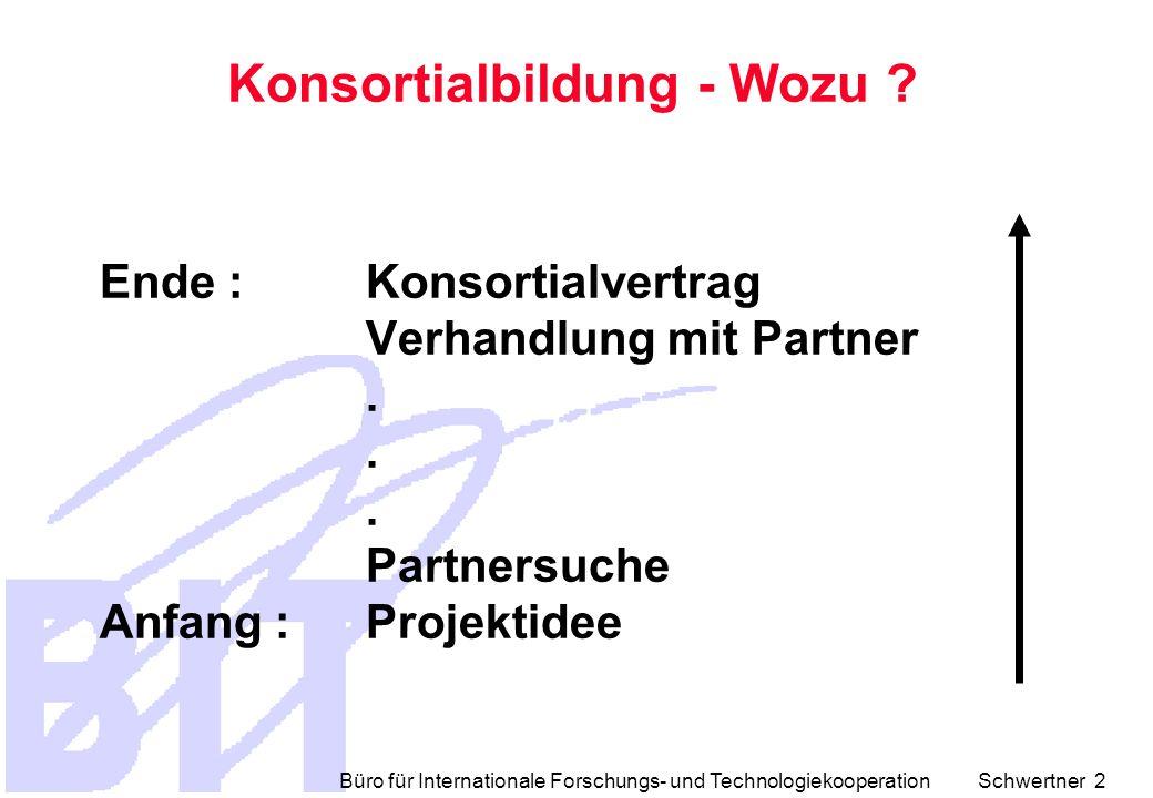 Büro für Internationale Forschungs- und Technologiekooperation Schwertner 2 Ende : Konsortialvertrag Verhandlung mit Partner.