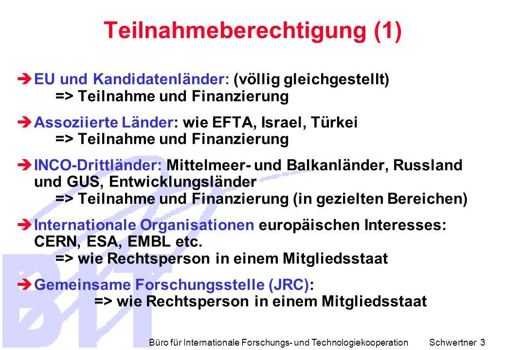 Büro für Internationale Forschungs- und Technologiekooperation Schwertner 3 Teilnahmeberechtigung (1)  EU und Kandidatenländer: (völlig gleichgestellt) => Teilnahme und Finanzierung  Assoziierte Länder: wie EFTA, Israel, Türkei => Teilnahme und Finanzierung  INCO-Drittländer: Mittelmeer- und Balkanländer, Russland und GUS, Entwicklungsländer => Teilnahme und Finanzierung (in gezielten Bereichen)  Internationale Organisationen europäischen Interesses: CERN, ESA, EMBL etc.