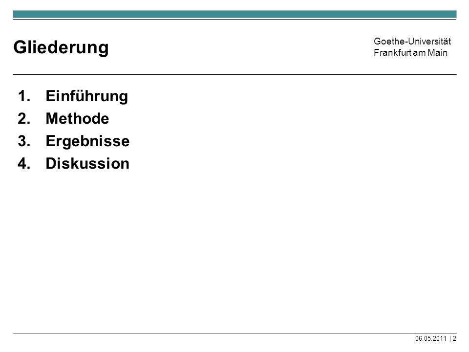 Goethe-Universität Frankfurt am Main Gliederung 1.Einführung 2.Methode 3.Ergebnisse 4.Diskussion 06.05.2011 | 2