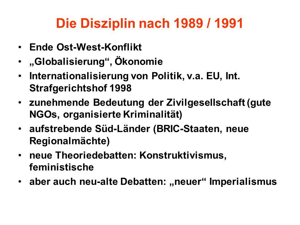 """Die Disziplin nach 1989 / 1991 Ende Ost-West-Konflikt """"Globalisierung , Ökonomie Internationalisierung von Politik, v.a."""