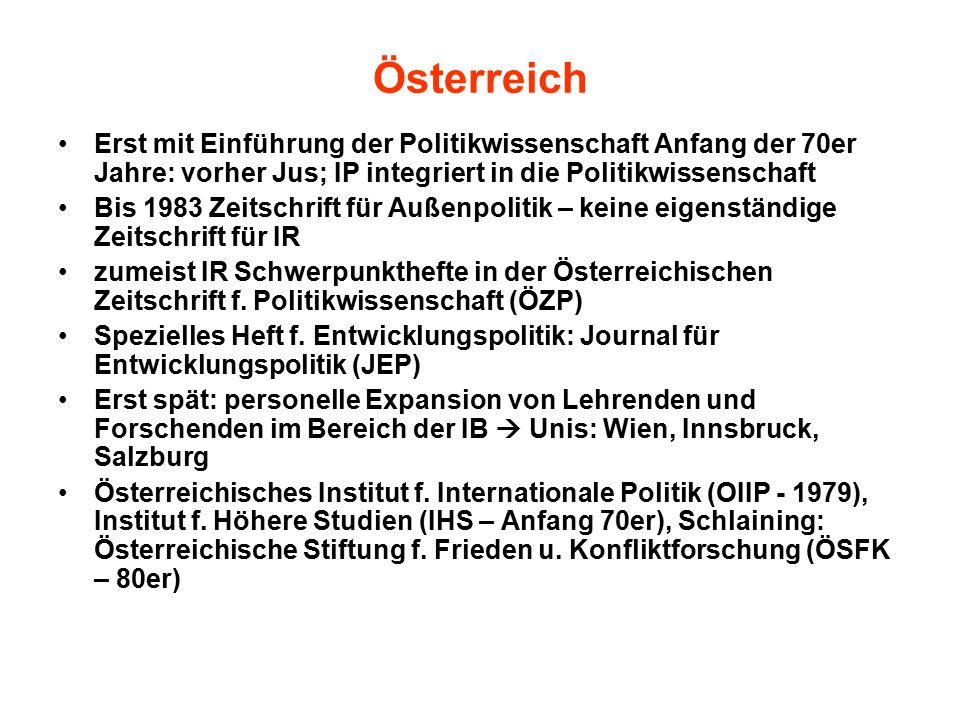 Österreich Erst mit Einführung der Politikwissenschaft Anfang der 70er Jahre: vorher Jus; IP integriert in die Politikwissenschaft Bis 1983 Zeitschrift für Außenpolitik – keine eigenständige Zeitschrift für IR zumeist IR Schwerpunkthefte in der Österreichischen Zeitschrift f.