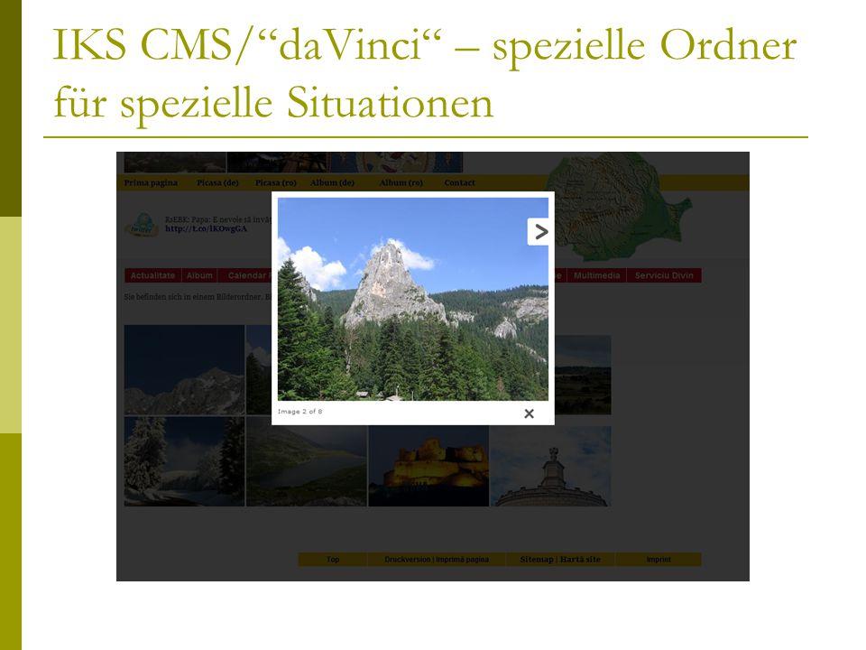 IKS CMS/ daVinci – spezielle Ordner für spezielle Situationen