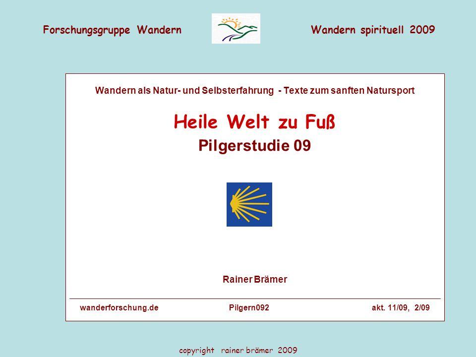 Forschungsgruppe WandernWandern spirituell 2009 copyright rainer brämer 2009 Da sind sich fast alle einig: Kein Fußfrust Wege-Vorlieben in % Pilger vs.