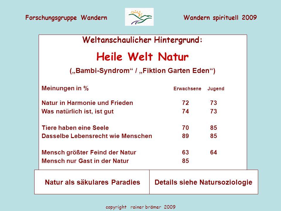 """Forschungsgruppe WandernWandern spirituell 2009 copyright rainer brämer 2009 Weltanschaulicher Hintergrund: Heile Welt Natur (""""Bambi-Syndrom"""" / """"Fikti"""