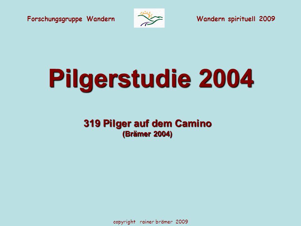 Forschungsgruppe WandernWandern spirituell 2009 copyright rainer brämer 2009 Pilgerstudie 2004 319 Pilger auf dem Camino (Brämer 2004)