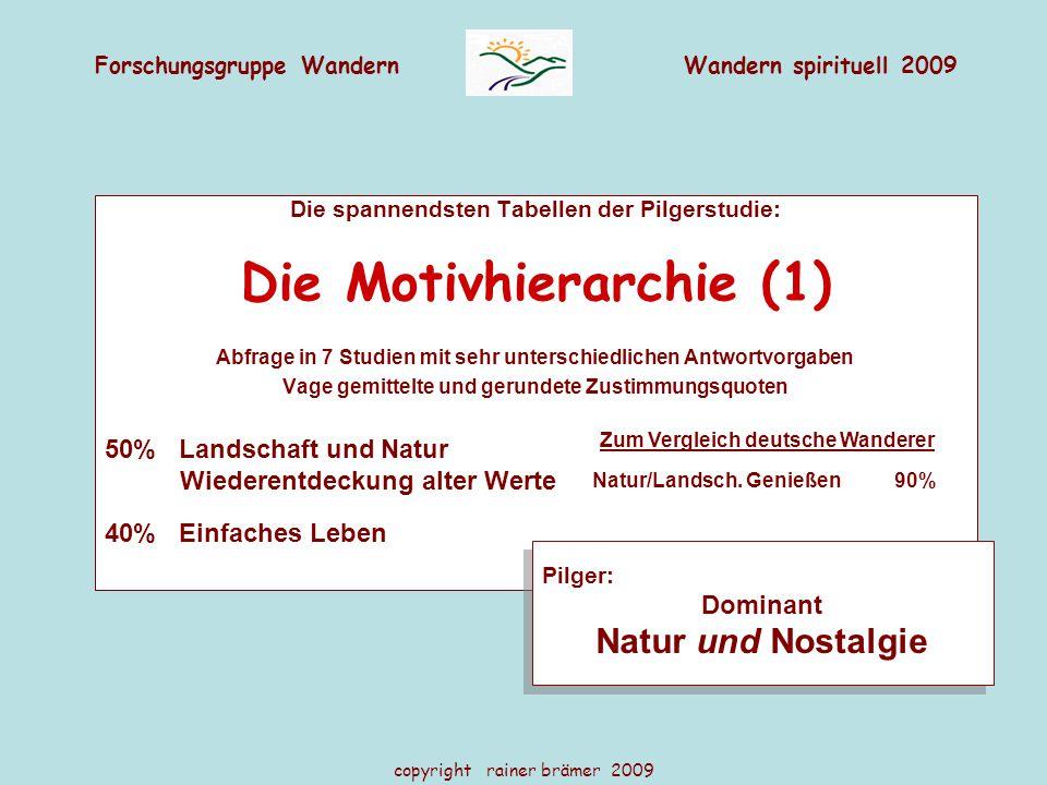 Forschungsgruppe WandernWandern spirituell 2009 copyright rainer brämer 2009 Die spannendsten Tabellen der Pilgerstudie: Die Motivhierarchie (1) Abfra