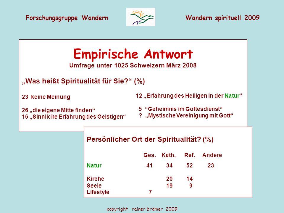 """Forschungsgruppe WandernWandern spirituell 2009 copyright rainer brämer 2009 Empirische Antwort Umfrage unter 1025 Schweizern März 2008 """"Was heißt Spi"""