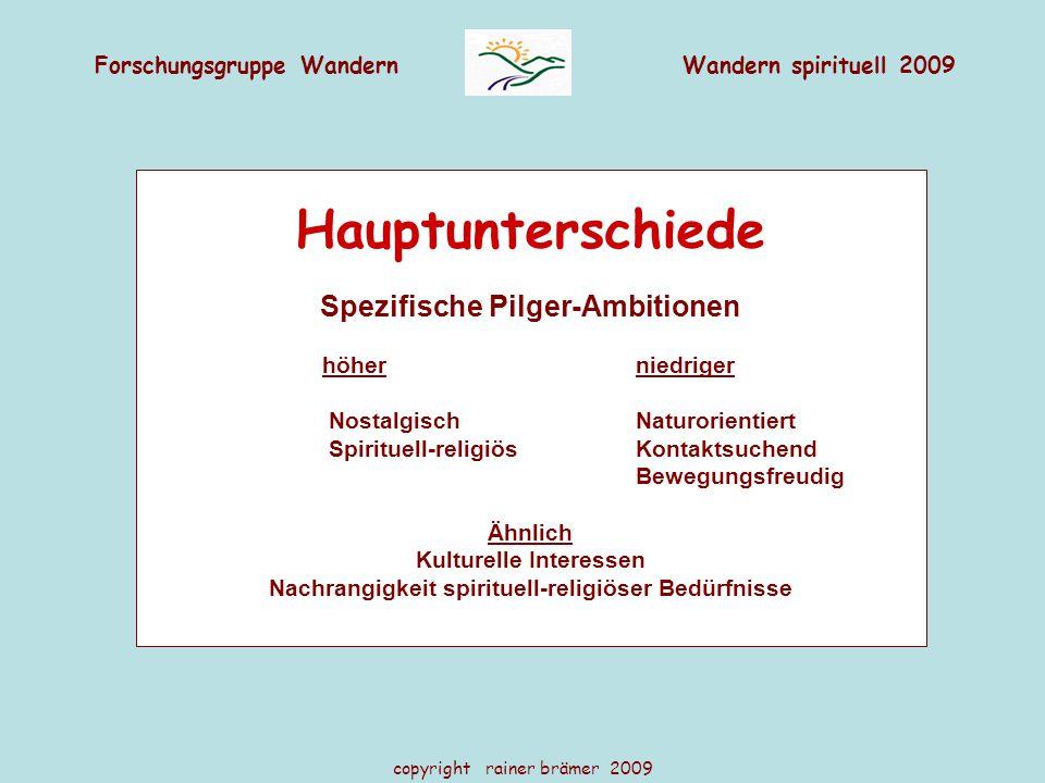 Forschungsgruppe WandernWandern spirituell 2009 copyright rainer brämer 2009 Hauptunterschiede Spezifische Pilger-Ambitionen höher niedriger Nostalgis