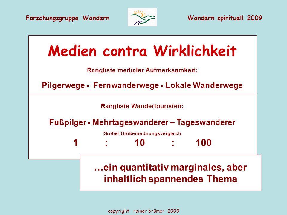 Forschungsgruppe WandernWandern spirituell 2009 copyright rainer brämer 2009 Medien contra Wirklichkeit Rangliste medialer Aufmerksamkeit: Pilgerwege
