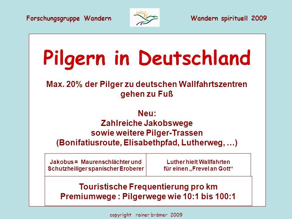 Forschungsgruppe WandernWandern spirituell 2009 copyright rainer brämer 2009 Pilgern in Deutschland Max. 20% der Pilger zu deutschen Wallfahrtszentren