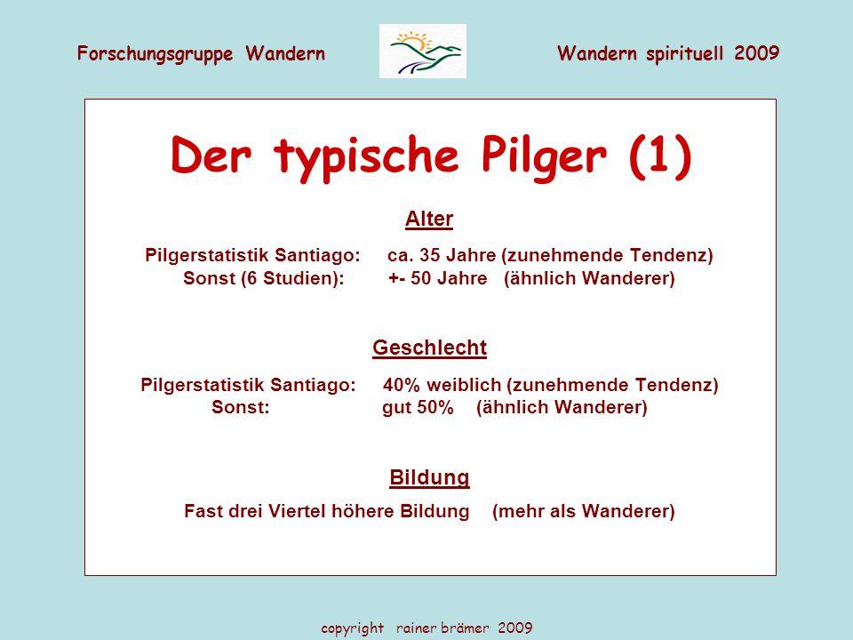 Forschungsgruppe WandernWandern spirituell 2009 copyright rainer brämer 2009 Der typische Pilger (1) Alter Pilgerstatistik Santiago: ca. 35 Jahre (zun