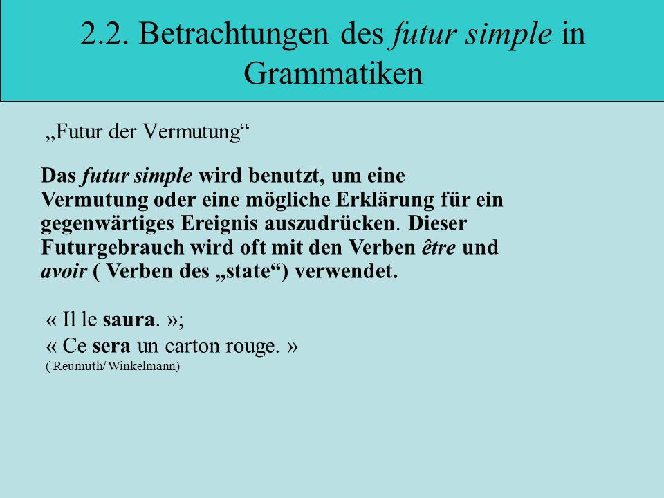 """2.2.Betrachtungen des futur simple in Grammatiken """"Futur der Vermutung « Il le saura."""
