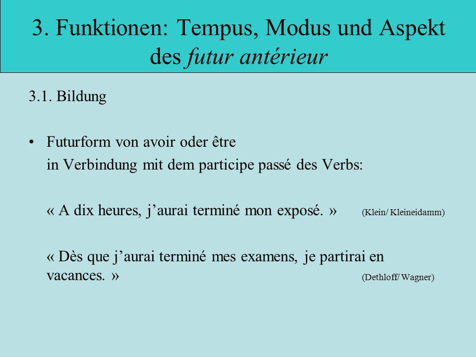 3.Funktionen: Tempus, Modus und Aspekt des futur antérieur 3.1.