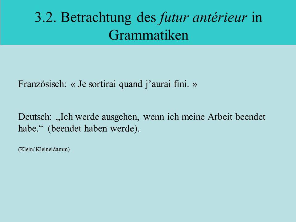 3.2.Betrachtung des futur antérieur in Grammatiken Französisch: « Je sortirai quand j'aurai fini.