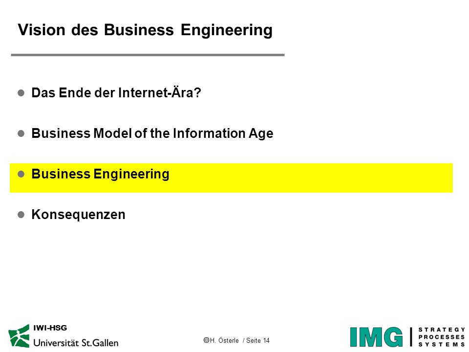  H. Österle / Seite 14 IWI-HSG Vision des Business Engineering l Das Ende der Internet-Ära? l Business Model of the Information Age l Business Engine