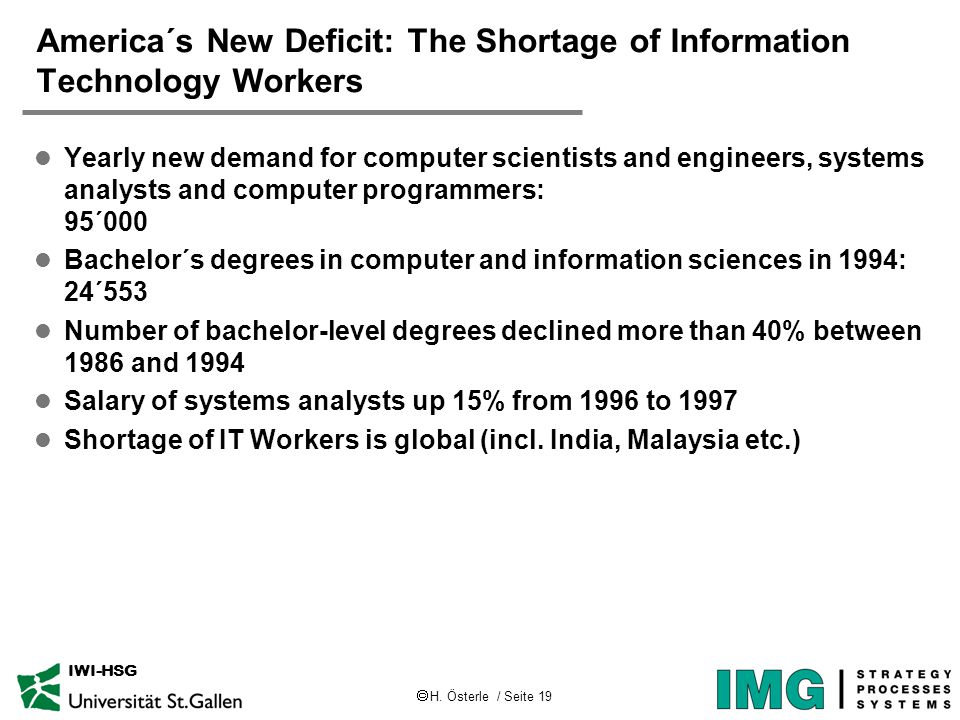  H. Österle / Seite 19 IWI-HSG America´s New Deficit: The Shortage of Information Technology Workers l Yearly new demand for computer scientists and