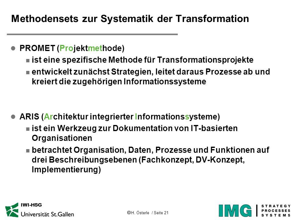  H. Österle / Seite 21 IWI-HSG Methodensets zur Systematik der Transformation l PROMET (Projektmethode) n ist eine spezifische Methode für Transforma