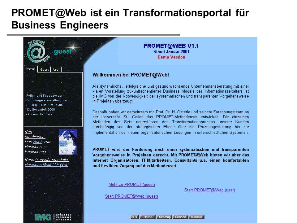  H. Österle / Seite 24 IWI-HSG PROMET@Web ist ein Transformationsportal für Business Engineers