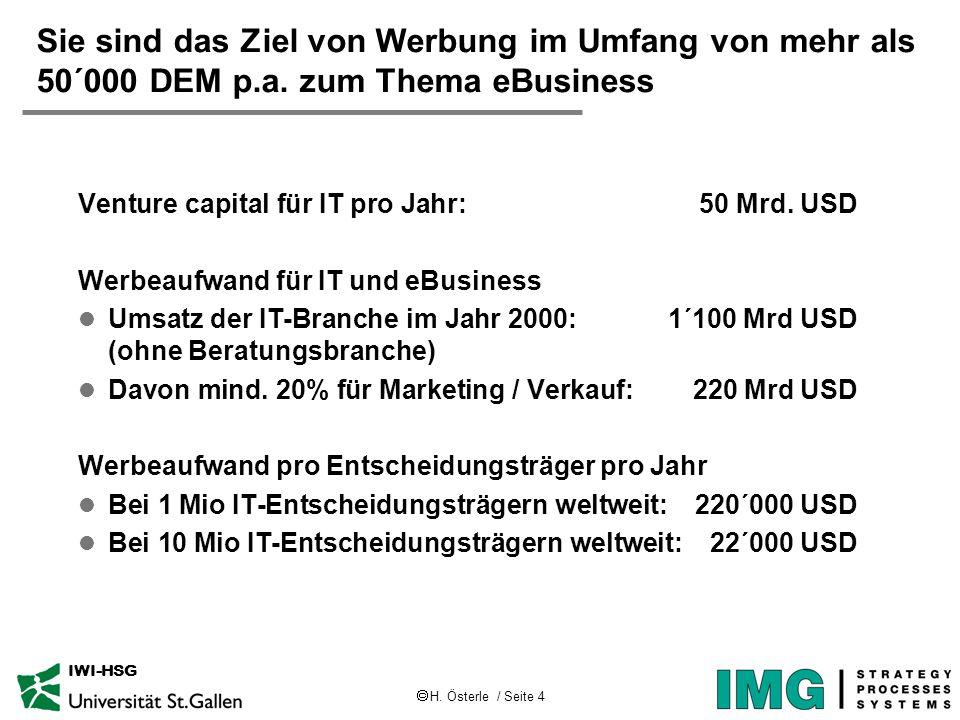  H. Österle / Seite 4 IWI-HSG Sie sind das Ziel von Werbung im Umfang von mehr als 50´000 DEM p.a. zum Thema eBusiness Venture capital für IT pro Jah