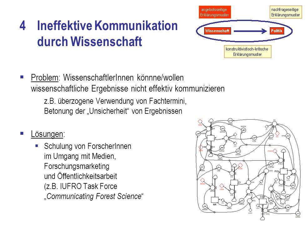 4Ineffektive Kommunikation durch Wissenschaft  Problem: WissenschaftlerInnen könnne/wollen wissenschaftliche Ergebnisse nicht effektiv kommunizieren z.B.