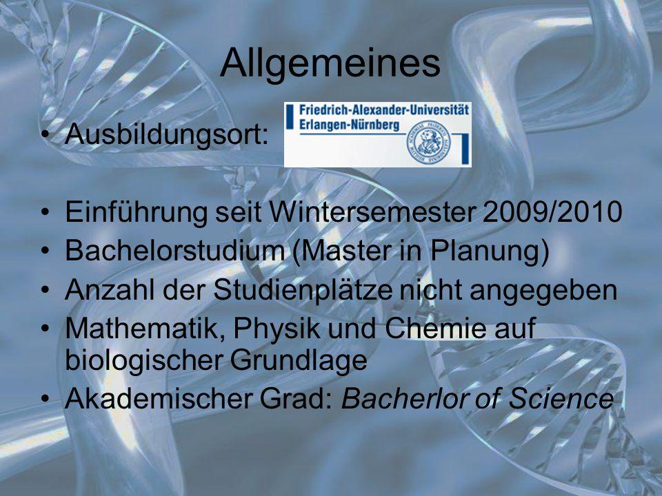 Allgemeines Ausbildungsort: Einführung seit Wintersemester 2009/2010 Bachelorstudium (Master in Planung) Anzahl der Studienplätze nicht angegeben Math