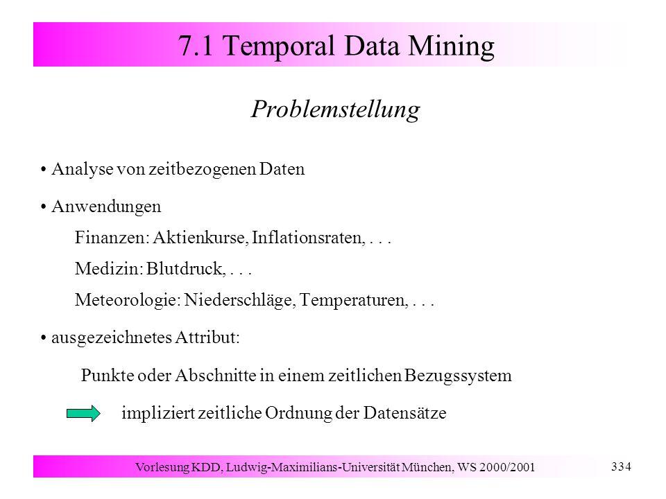 Vorlesung KDD, Ludwig-Maximilians-Universität München, WS 2000/2001 334 7.1 Temporal Data Mining Problemstellung Analyse von zeitbezogenen Daten Anwendungen Finanzen: Aktienkurse, Inflationsraten,...