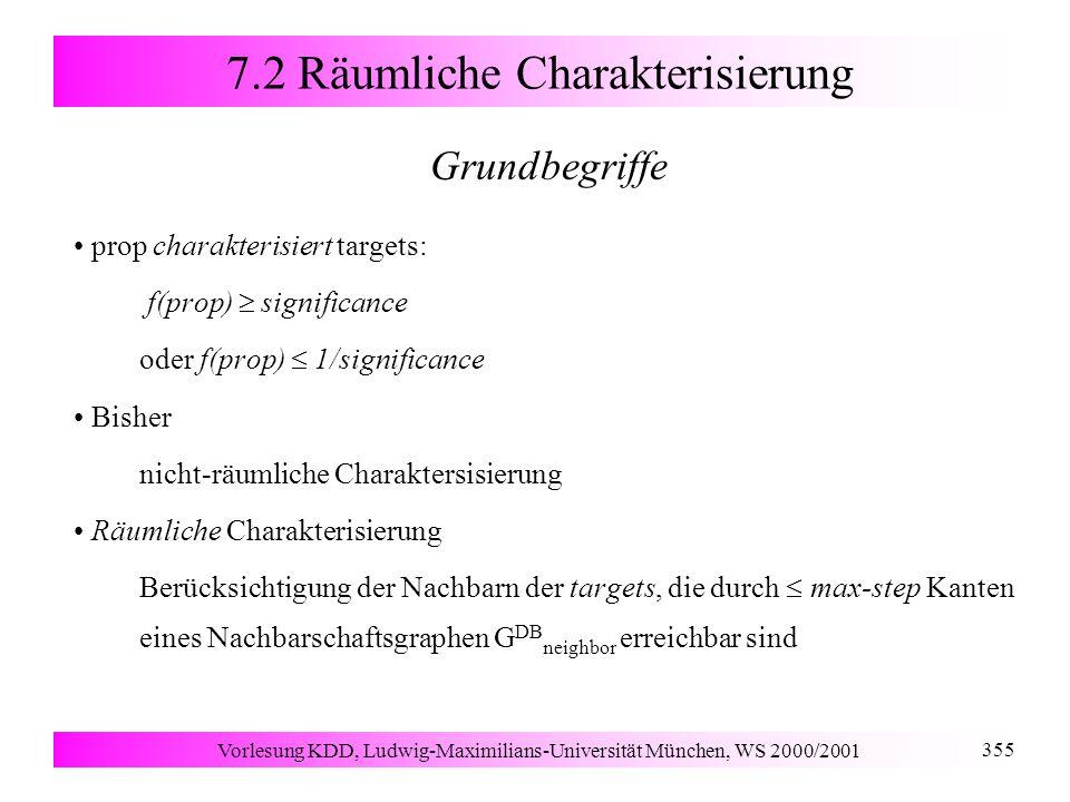 Vorlesung KDD, Ludwig-Maximilians-Universität München, WS 2000/2001 355 7.2 Räumliche Charakterisierung Grundbegriffe prop charakterisiert targets: f(prop)  significance oder f(prop)  1/significance Bisher nicht-räumliche Charaktersisierung Räumliche Charakterisierung Berücksichtigung der Nachbarn der targets, die durch  max-step Kanten eines Nachbarschaftsgraphen G DB neighbor erreichbar sind