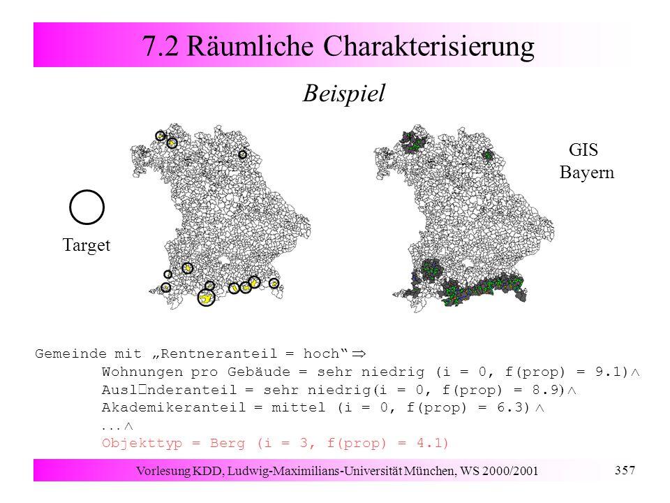 """Vorlesung KDD, Ludwig-Maximilians-Universität München, WS 2000/2001 357 7.2 Räumliche Charakterisierung     Beispiel Gemeinde mit """"Rentneranteil = hoch  Wohnungen pro Gebäude = sehr niedrig (i = 0, f(prop) = 9.1)  Ausl  nderanteil = sehr niedrig  i = 0, f(prop) = 8.9  Akademikeranteil = mittel (i = 0, f(prop) = 6.3)   Objekttyp = Berg (i = 3, f(prop) = 4.1) GIS Bayern Target"""