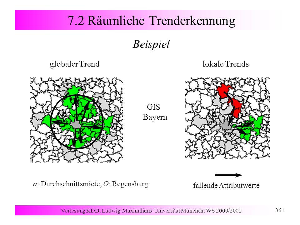 Vorlesung KDD, Ludwig-Maximilians-Universität München, WS 2000/2001 361 7.2 Räumliche Trenderkennung Beispiel globaler Trend lokale Trends fallende Attributwerte GIS Bayern a: Durchschnittsmiete, O: Regensburg