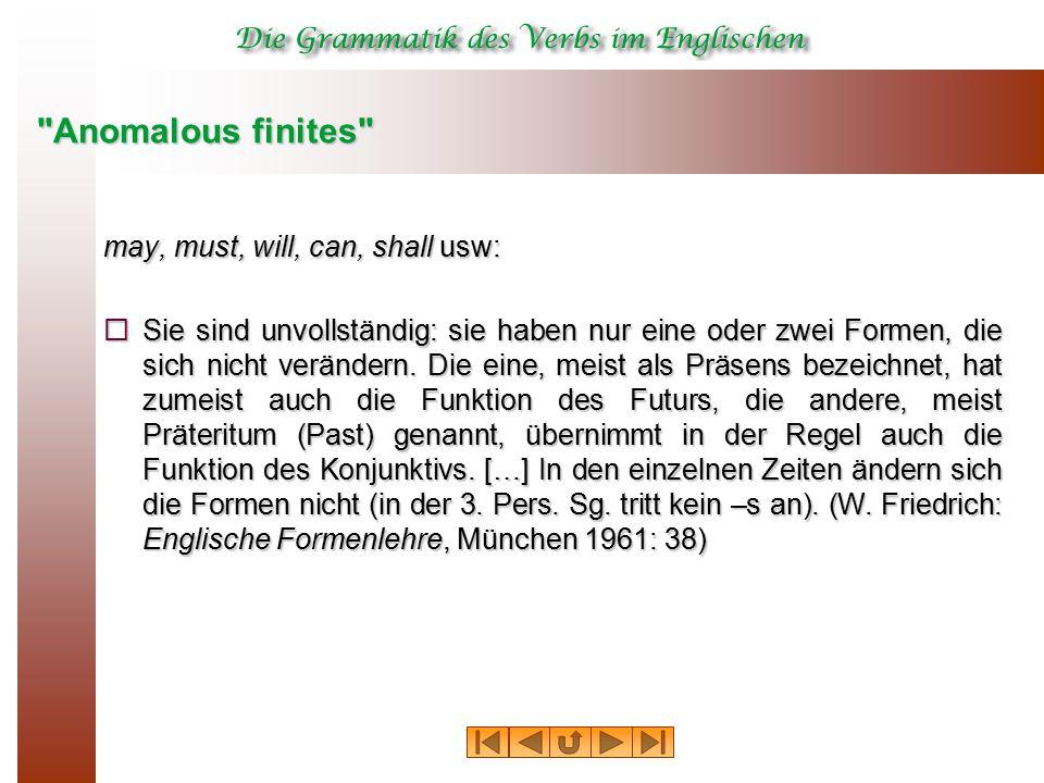 Anomalous finites may, must, will, can, shall usw:  Sie sind unvollständig: sie haben nur eine oder zwei Formen, die sich nicht verändern.