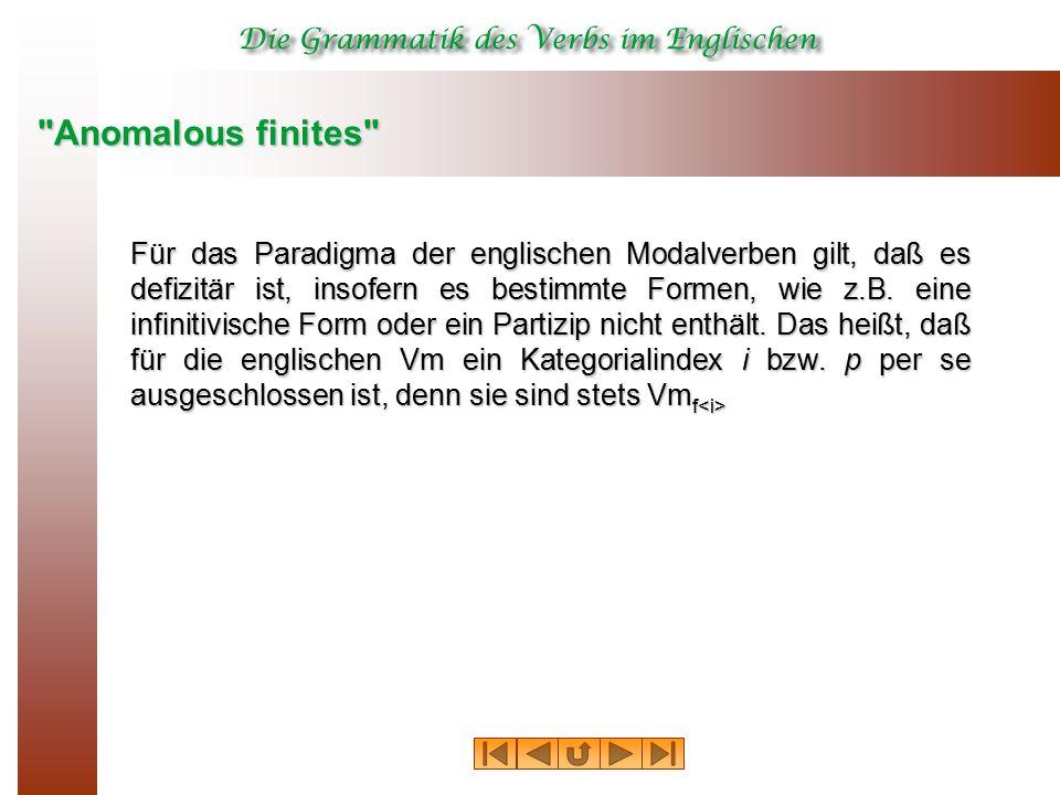 Anomalous finites Für das Paradigma der englischen Modalverben gilt, daß es defizitär ist, insofern es bestimmte Formen, wie z.B.