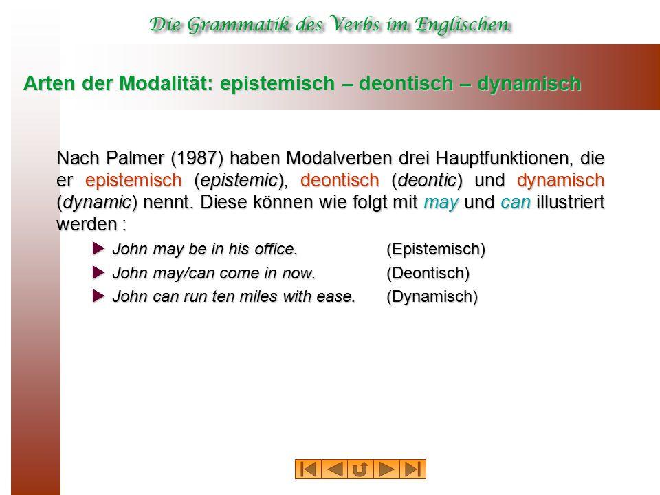 Arten der Modalität: epistemisch – deontisch – dynamisch Nach Palmer (1987) haben Modalverben drei Hauptfunktionen, die er epistemisch (epistemic), deontisch (deontic) und dynamisch (dynamic) nennt.