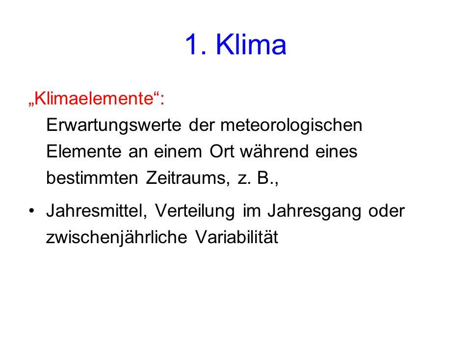 """1. Klima """"Klimaelemente"""": Erwartungswerte der meteorologischen Elemente an einem Ort während eines bestimmten Zeitraums, z. B., Jahresmittel, Verteilu"""