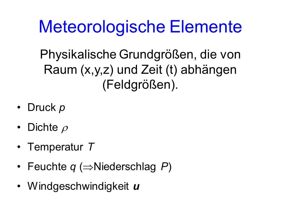 Meteorologische Elemente Druck p Dichte  Temperatur T Feuchte q (  Niederschlag P) Windgeschwindigkeit u Physikalische Grundgrößen, die von Raum (x,y,z) und Zeit (t) abhängen (Feldgrößen).
