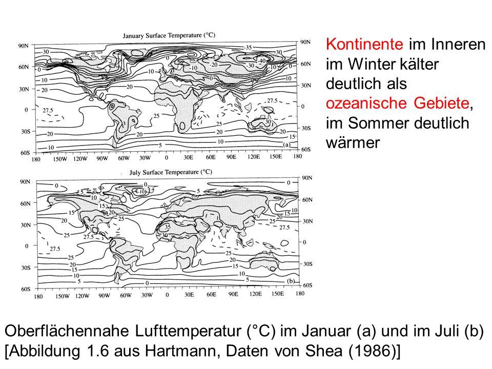 Kontinente im Inneren im Winter kälter deutlich als ozeanische Gebiete, im Sommer deutlich wärmer Oberflächennahe Lufttemperatur (°C) im Januar (a) und im Juli (b) [Abbildung 1.6 aus Hartmann, Daten von Shea (1986)]