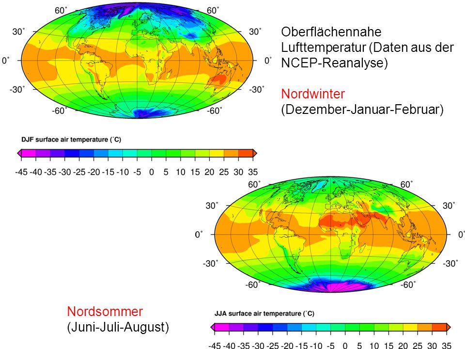 Oberflächennahe Lufttemperatur (Daten aus der NCEP-Reanalyse) Nordwinter (Dezember-Januar-Februar) Nordsommer (Juni-Juli-August)