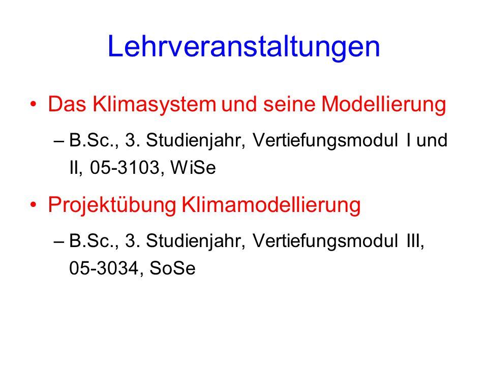 Lehrveranstaltungen Das Klimasystem und seine Modellierung –B.Sc., 3.